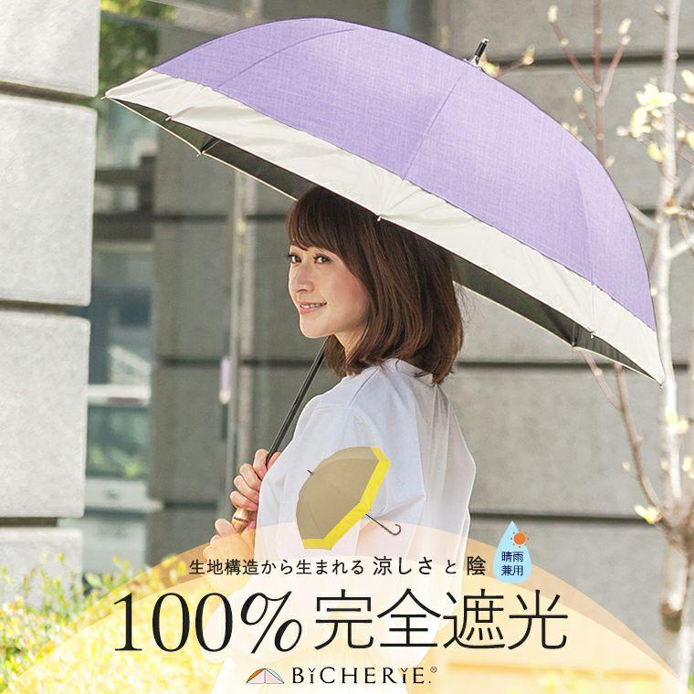 100%完全遮光 晴雨兼用日傘 Mサイズ 55cm バイカラー シャンブレー
